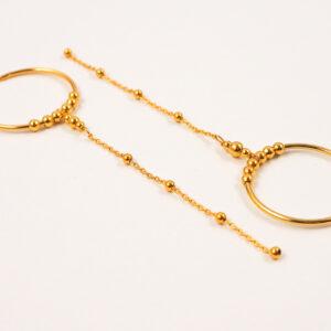 Kolczyki obręcze z łańcuszkiem