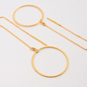 Kolczyki przekładane – łańcuszek z dużym gładkim kółkiem