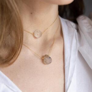 unikat – naszyjnik z okrągłym kryształem górskim – kamienie do wyboru