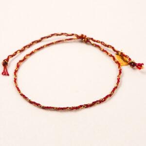 Bransoletka pleciona – jedwab ze srebrem – różne kolory