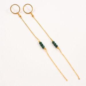 Kolczyki na sztyfcie – kółka z łańcuszkami i kamieniami naturalnymi/perłą