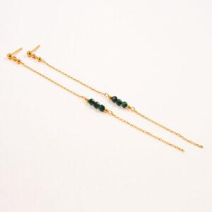 Kolczyki na sztyfcie – kuleczki z łańcuszkami i kamieniami naturalnymi/perłą