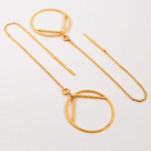 Kolczyki przekładane – łańcuszek z okrągłym elementem ozdobnym #1