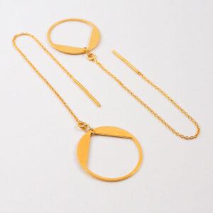 Kolczyki przekładane – łańcuszek z okrągłym elementem ozdobnym #2