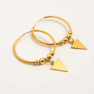 Kolczyki obręcze z małym trójkątem